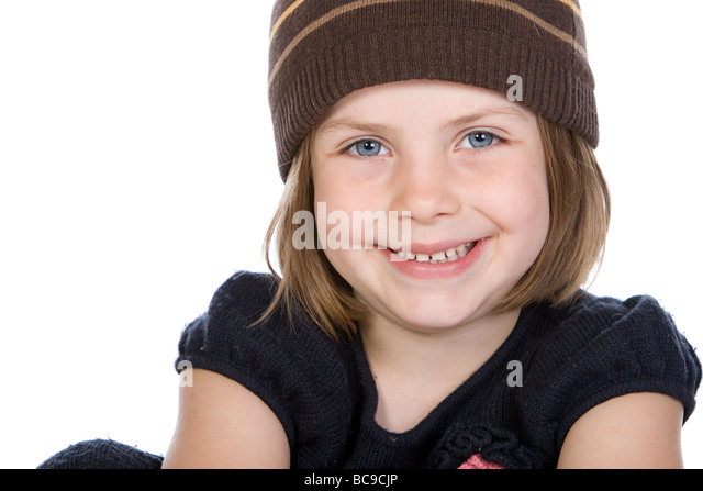 Close Up Shot of a Pretty Child with Big Blue Eyes - Stock Image