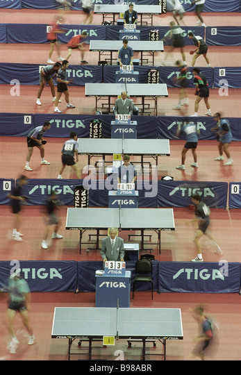 Table tennis competition in the Small Sports Arena in Luzhniki - Stock Image