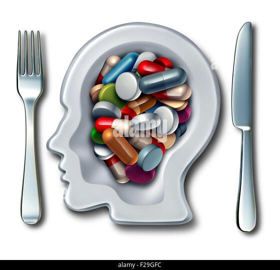 Brain drugs and neuroscience medicine concept as a dinner plate with knife and fork shaped as a human head with - Stock-Bilder