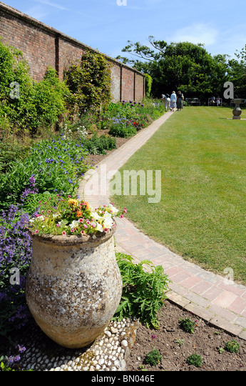 the sun dial garden at heligan gardens,  in cornwall, uk - Stock Image