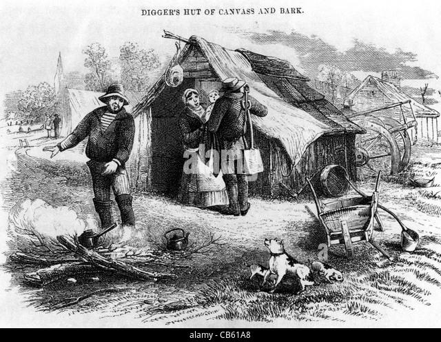 AUSTRALIAN GOLD DIGGERS about 1850 - Stock-Bilder