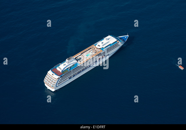 CRUISE LINER anchored near the Principality of Monaco (aerial view). - Stock Image