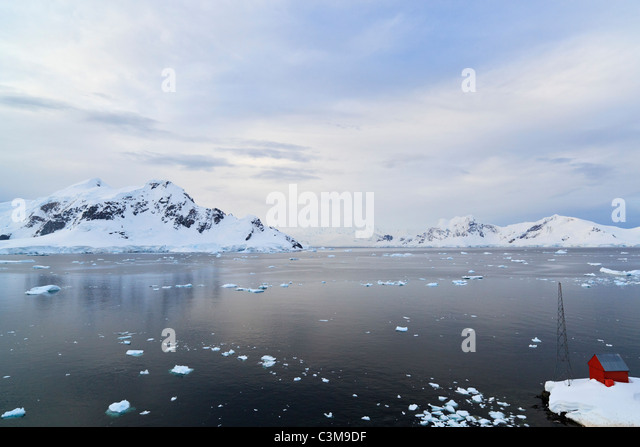 South Atlantic Ocean Almirante Brown Antarctic Base, Argentine Antarctic base, Paradise Bay, Gerlache Strait Antarctic - Stock Image