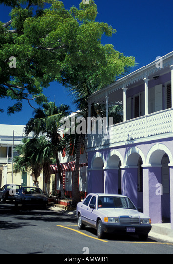 St Croix Frederiksted purple car, building with purple arches - Stock Image