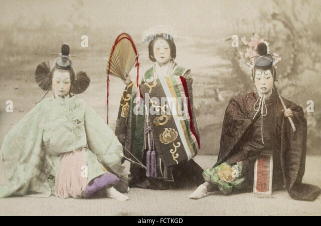 Kusakabe Kimbei - girls performing historical dance - Stock Image