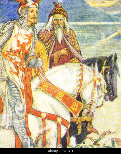 In Arthurian legend, a vast body of medieval story that centers on King Arthur of Britain, Merlin was the great - Stock Image