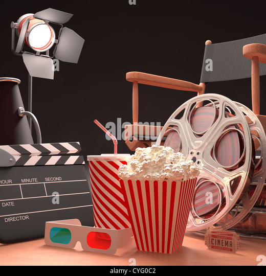 Objects of the film industry, the concept of cinema. - Stock Image