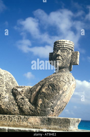 mexico cancun yucatan quintana roo chac mool rain god statue - Stock Image