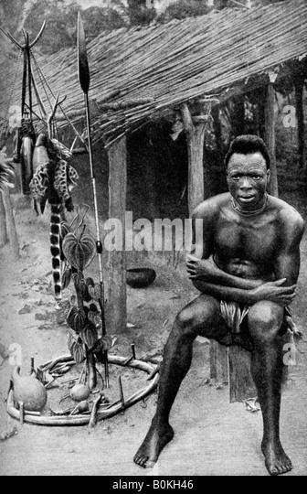 A witch doctor, Belgian Congo (Congo Republic), 1922. Artist: JH Harris - Stock-Bilder