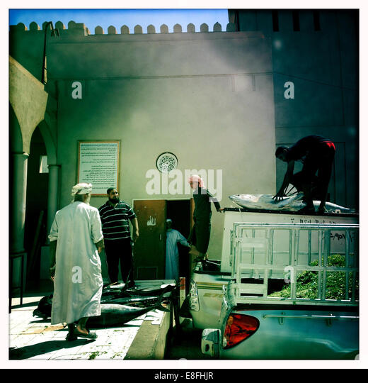 Oman, Nizwa, Yellowfin Tuna's delivery - Stock Image