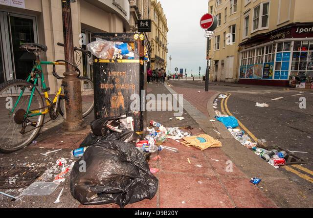 Brighton, UK. 17th June, 2013. Sin Bin City -Rubbish strewn East Street in Brighton.  The city's cleaners are - Stock Image