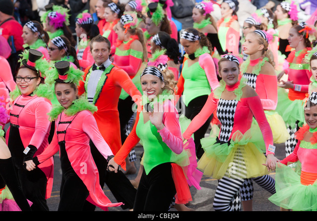 Members of the Spirit of America Dance Team perform during the 2011 Macy's Thanksgiving Day Parade in New York - Stock Image