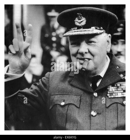 Winston Churchill as British war time prime minister 1942 - Stock Image