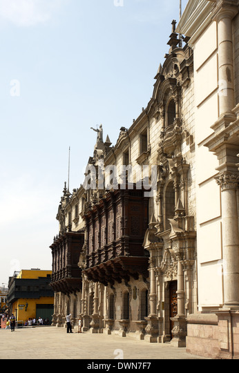 The Archbishop's Palace of Lima, Lima, Peru - Stock Image