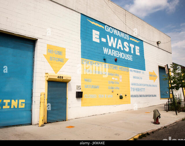 An e-waste warehouse in Brooklyn, New York - Stock Image