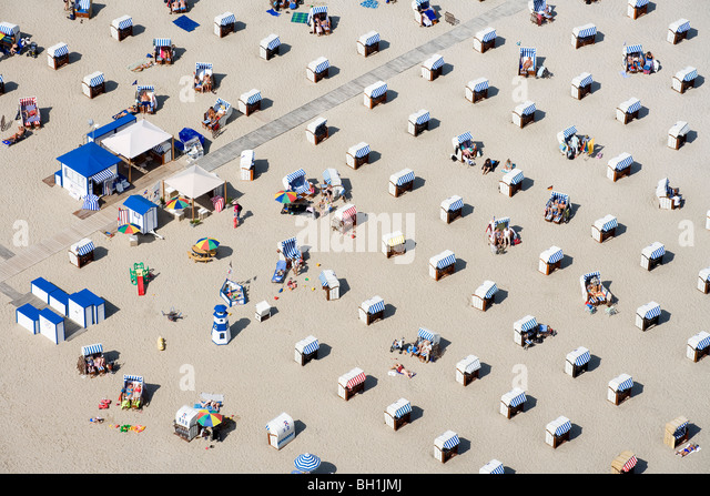 High angle view at beach with beach chairs in the sunlight, Travemuende, Schleswig Holstein, Germany, Europe - Stock Image