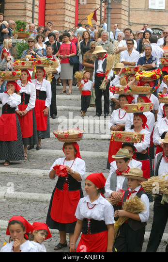 Colorful,Costumed Traditional Basket festival  in Amandola, Le Marche, Italy - Stock Image