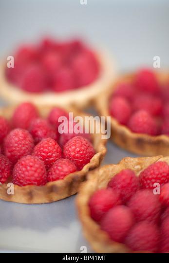 Close-up of Raspberry Tarts - Stock Image