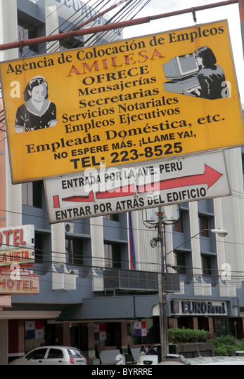 Panama City Panama Bella Vista Via Espana sign business employment agency job seeking advertising Spanish language - Stock Image