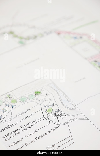 USA, Illinois, Metamora, Close-up on garden plan - Stock Image