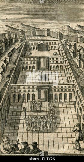 Renaissance city, vintage Print - Stock Image