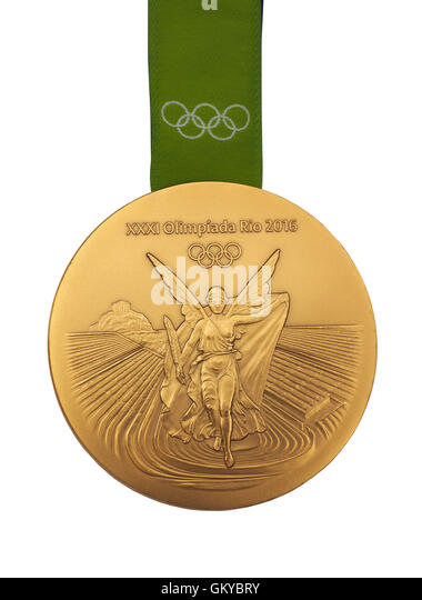 Gold medal from Rio 2016 Olympic Games - Stock-Bilder