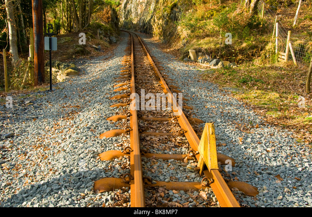 Stop chock or stop block on a railway line, Welsh Highland Railway, Nantmor, Snowdonia, North Wales, UK - Stock Image