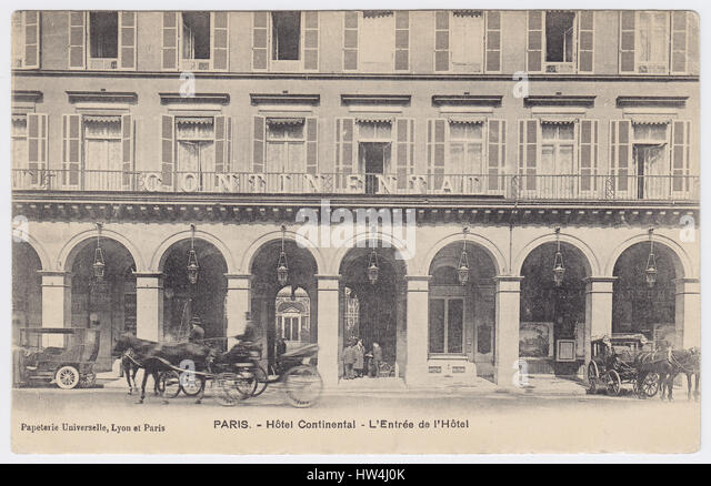 Hotel Continental, Paris, France, Entrance - Stock Image