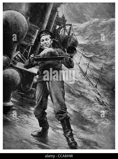 1916 British Navy sailor carrying Christmas pudding storm dessert winter storm crashing wave waves steamer steam - Stock Image