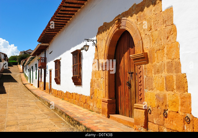 colonial, Town, Barichara, Colombia, South America, street - Stock Image