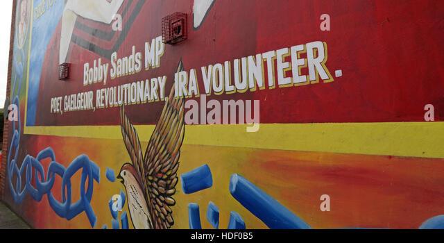 Belfast Falls Rd Rebublican Mural - Stock Image