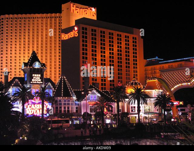 Las Vegas Nevada usa united states Las Vegas Strip at Night Lighted Neon Signs - Stock Image