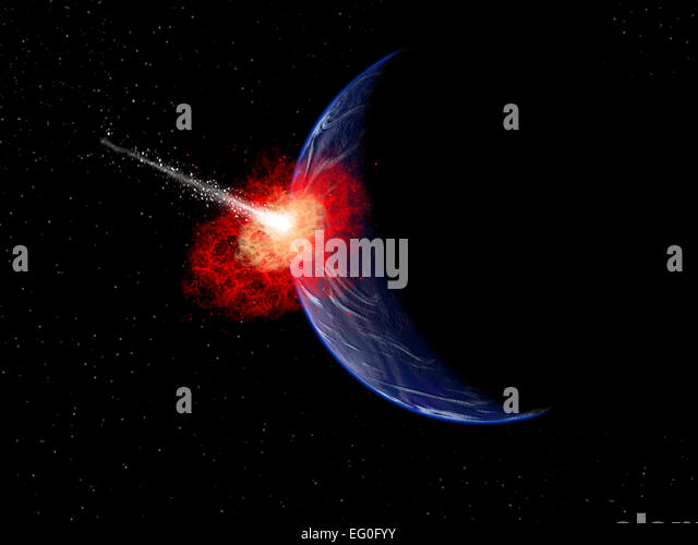 Asteroid Impact In Earths Distant Past - Stock Image