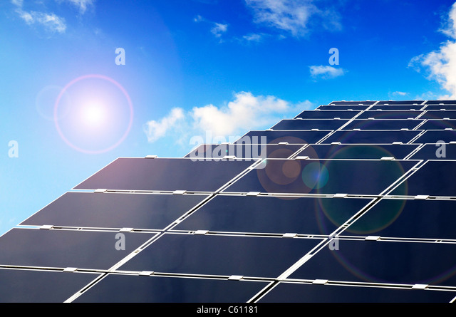 Solar Parc with Panels producing Energy by photovoltaics. - Stock Image