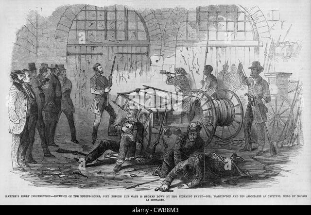 The Civil War. John Brown's raid on Harpers Ferry. Brown and fellow raiders trapped in the engine house, now - Stock Image