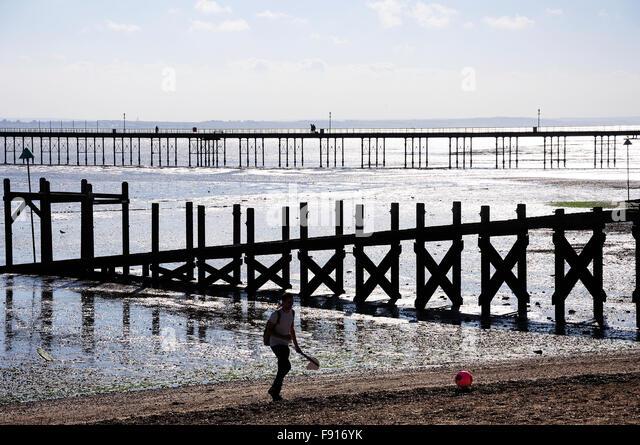 Southend Pleasure Pier from main beach, Southend-on-Sea, Essex, England, United Kingdom - Stock Image