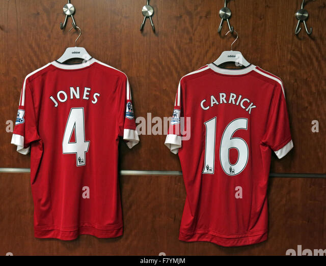 Jones & Carrick 4 & 16 red MUFC shirts, dressing room, Old Trafford, Manchester, England - Stock Image