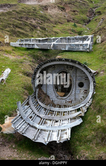 The remains of the crashed Heinkel plane, Fair Isle, Shetland, Scotland, United Kingdom, Europe - Stock Image