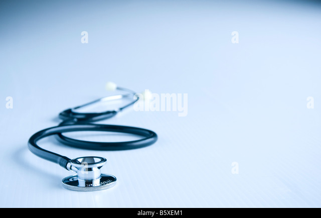 Doctor's stethoscope on white. - Stock Image