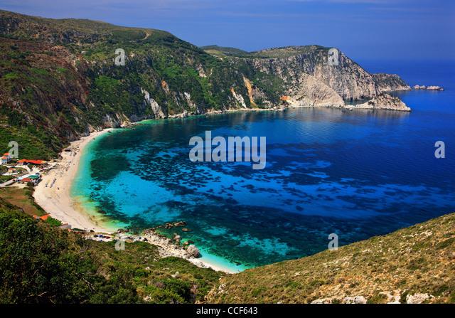 Panoramic view of Petanoi (or 'Petani') beach in Kefalonia island, Ionian Sea, Greece - Stock Image