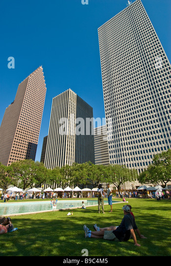 Houston Texas downtown skyline Bayou City Art Festival fall autumn October  annual art show - Stock Image
