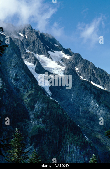Glaciers cling to Johannesburg Mountain opposite Cascade Pass trail North Cascades National Park Sept COPYRIGHT - Stock Image