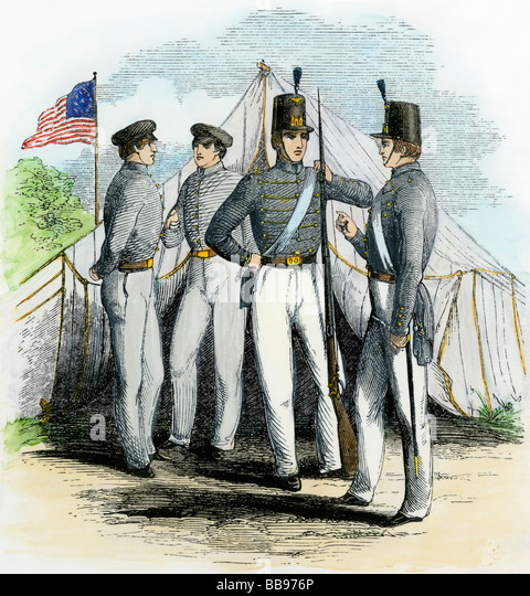 Cadets at the US Military Academy West Point 1850s - Stock Image