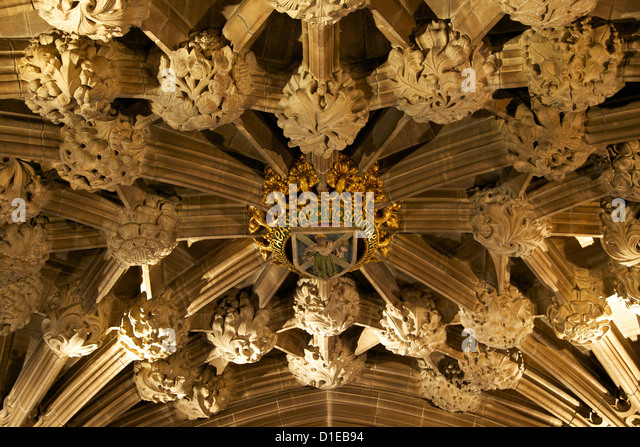 Roof at entrance to the Thistle chapel, St. Giles Cathedral, Old town, Edinburgh, Scotland, United Kingdom, Europe - Stock Image