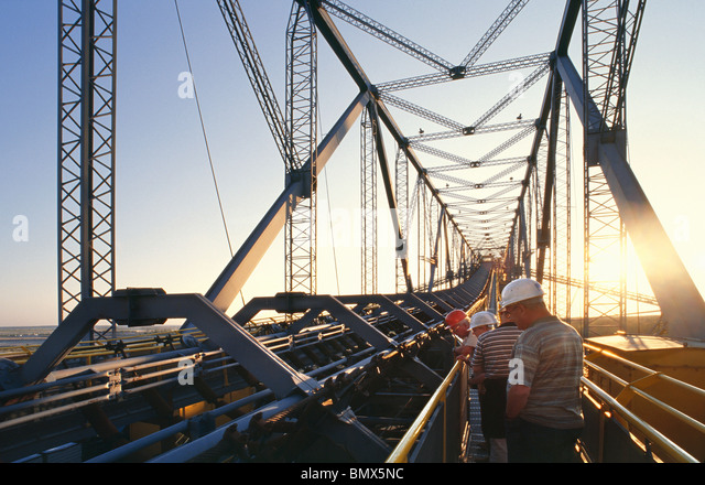 Overburden Conveyor Bridge F60 for Lignite Mining - Stock Image