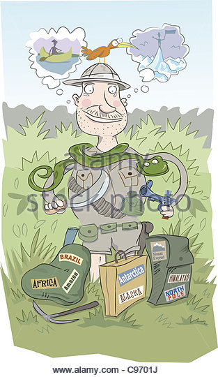 Holidays - adventure MAN Holiday Destinations Travel travel Destination Des - Stock-Bilder
