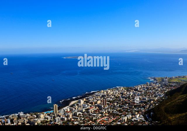The view from the top of Lions Head in Cape Town South Africa over the residential area of Sea Point and out to - Stock Image