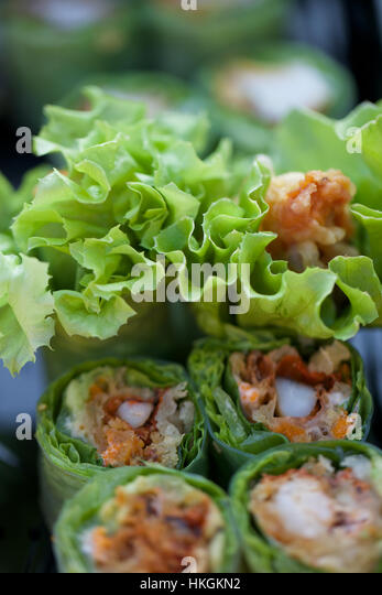 tuna sushi rolls. fish, meat, food, delicious. - Stock Image