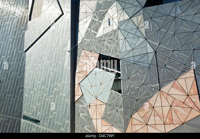 Iconic architecture of Federation Square. Melbourne, Victoria, Australia - Stock Image