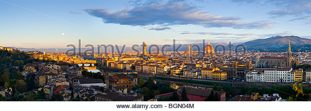 Panoramic view of the Florence skyline from Piazza Michelangelo, Tuscany, Italy. - Stock Image